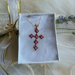 NWT Ruby Cross Necklace
